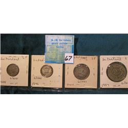 Lot of Silver Switzerland Coins: 1944 & 1946 Half Francs; 1944 One Franc; & 1957 Two Francs.