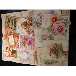A Large group of Old Greeting Cards, S & H Green Stamps Booklet; Patterns; Newspaper Clippings; & et