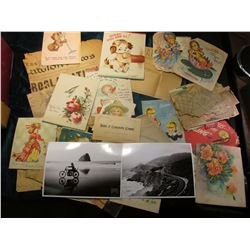 "A Large group of Old Greeting Cards, (2) Unused ""Marlboro Black"" Postcards;""Bank of Comanche (Iowa)"