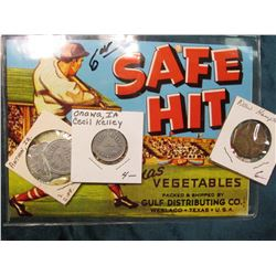 """Safe Hit Texas Vegetables…Weslaco Texas U.S.A."" Box label, (very colorful)  ""Cecil Kelley/Onawa, Ia"