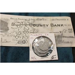 "1928 Check ""Belle Fourche, S. Dak"" Hand written in pencil ""First Natl"" over ""Butte County Bank""; & a"