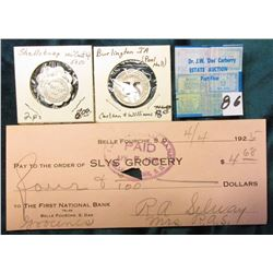 "1925 Check ""Slys Grocery Belle Fourche, S.D."" First National Bank; (2) Different denomination ""McCar"