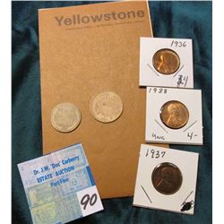 "1968 Brochure ""Yellowstone National Park, Wyoming, Montana, Idaho; (2) Cardboard U.S. Type Coins; 19"