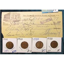 "1933 Check ""The First National Bank of Lead"" Lead, So. Dak.; & (4) 1933 P Lincoln Cents grading VF t"