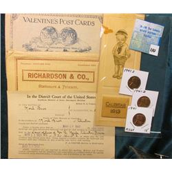 """Richardson & Co."" Cover from London, W.C.; ""Edinburgh Valentine's Post Cards"" Cover; 1923 Bankruptc"