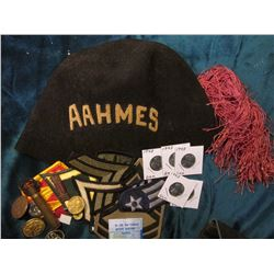 """AAHMES"" Fez with Gold-embroidered letters & Pink tassle; (20) different Military Patches & Items; &"