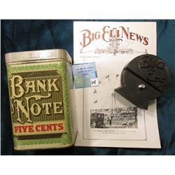 "Metal Tin ""Bank Note Five Cents Cigars"" (empty); Rubber Wire Stabilizer from the Original ""BIG ELI"""