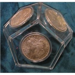Paper Weight with (3) 1921 P or D U.S. Morgan Silver Dollars, all Uncirculated.