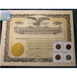 M.W. Savage Factories Inc. 1917 Stock Certificate and Related Article about the Dan Patch Gas Engine