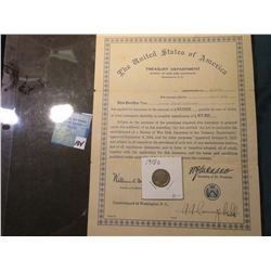 The United States of America Treasury Dept.  1918 World War I $10,000 War Risk Insurance Certificate