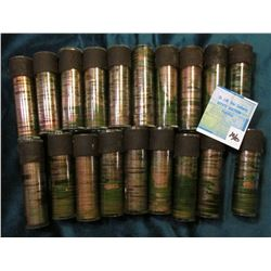 (19) Rolls of Canada Maple Leaf Cents, all are green tarnished or water stained, and in plastic tube