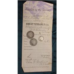 "1898 ""Receipts of the Evening Headquarters T.F. Wooster Camp, No.250 Division of Iowa Sons of Vetera"
