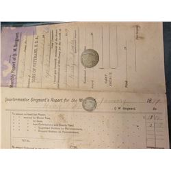 "1894 ""Monthly Report of Q.M. Sergeant Sons of Veterans, U.S.A."" & 1899 P Barber Dime & 1894 New Orle"