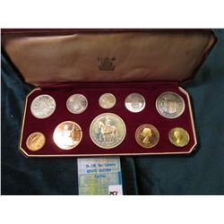 Crowned 2nd June 1953 Great Britain Silver Proof Set in original case of issue. (10 pcs.). PS25. KM