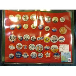 """Standard Oil 1972 Campaign Buttons"" 38 different. Framed."