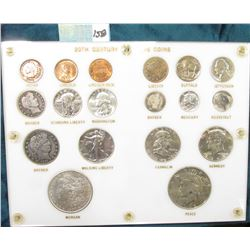 White Capital Holder with a 20th Century Type Set of U.S. Coins. Includes (3) Cents including an Ind