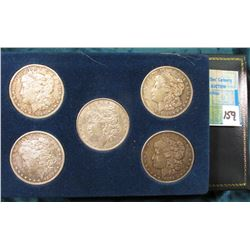 Five Piece Set of U.S. Morgan Silver Dollars, includes 1878 P, 1883 P, 1889 P & O, & 1921 D. All Fin