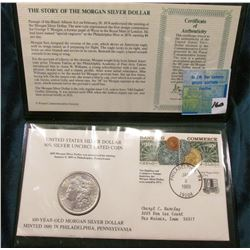 1889 P Morgan Silver Dollar in a Stamped Cover with Certificate of Authenticty. Brilliant Unc.