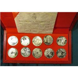 1969FM-NI Republic of Tunisia Sterling Silver Ten-Piece Proof Set in original box of issue with lite