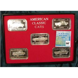 """American Classic Cars"" Art bar 1 Ounce .999 fine silver in each of five pieces. 1955 Ford Crown Vic"