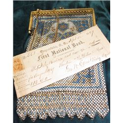 Enameled Chain Mesh Purse, 1800 era & Sept. 12, 1864 Cooperstown, N.Y. First National Bank Check com