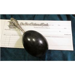 "Blank Check ""The First National Bank Tishomingo, Okla. 192_"" and a period Sterling Silver Handled Da"