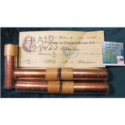 (5) 1957 Canadian Cent Rolls, BU.; Dec. 6, 1923 The Farmers and Mechanic Bank Check. Washington DC.
