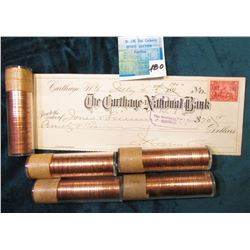 (5) 1958 Canadian Cent Rolls, BU.; July 5, 1900 The Carthage National Bank Check, Carthage, New York