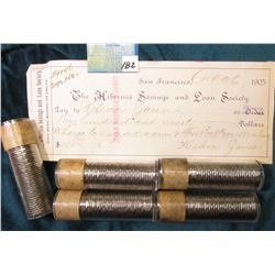 (5) 1960 Canadian Nickel Rolls, BU.; October 26, 1905 The Hibernia Savings and Loan Society, Bank Ch