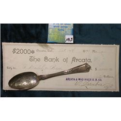 Grand Junction Colorado Sterling Silver Souvenir Spoon; October 19, 1891 The Bank of Arcara Colorado