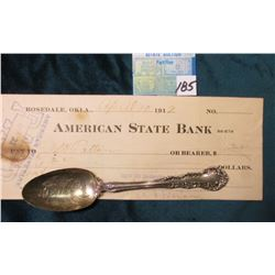 Denver Colorado Sterling Silver Souvenir Spoon; April 10, 1912 American State Bank Check.