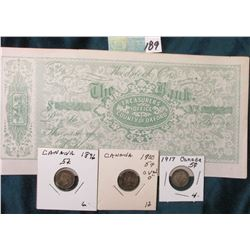 1896, 1900 & 1917 Canada 5 Cent Silvers F-VF; The Bank of Woodstock Ont. Treasurers Office County of