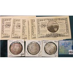 1964, 1965 & 1966 Mexico Silver I Peso. BU;  Set of 6 Thuringer Germany Notgeld Currency.