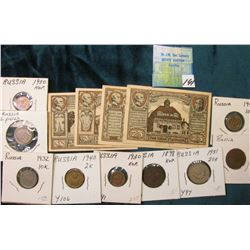 (10) Russian Coins 1898-1940; Set of 4 Pammen German Notgeld Currency.