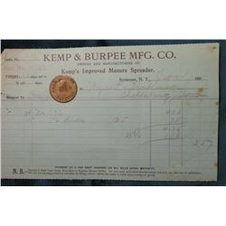 Jan. 1904 Kemp & Burpee MFG. Co Invoice to Wyant & Dankinson Shellsburg, Iowa and Pay Check Token J.