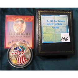 2000 American Eagle Silver Dollar Colorized Obverse in Box with Certificate.
