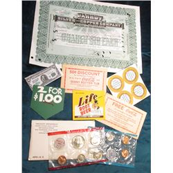 """1970 Silver U.S. Mint Set, original as issued; """"2 For $1.00"""" tag; """"Life Root Beer"""" Label; (2) pieces"""