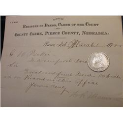 1876 S U.S. Seated Liberty Half Dollar, EF with obverse scratch; & March 1st, 1878 Land Register let