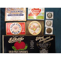 """Elkay Solid Pack Tomatoes"" Can Label in Mint condition; ""Tube City Bock Premium Beer"" Label; ""Monte"