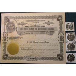 """The Prolific Mining and Development Company"" Stock Certificate, unissued; (3) 1970 D Silver BU, & 7"
