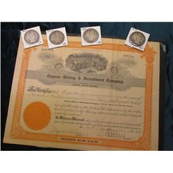 """Cuyana Mining & Investment Company"" Stock Certificate, small piece missing; 1909P, 10P, 11P, & 12P"