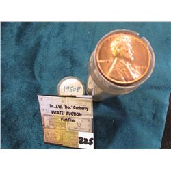 "1950 P Original Gem BU Roll of Lincoln Cents in a plastic tube. My ""Coin Dealers Newletters"" shows a"