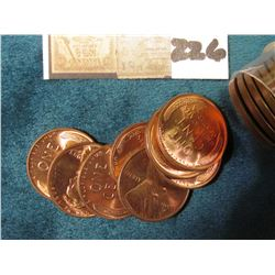 1953 D  Original Gem BU Roll of Lincoln Cents in a plastic tube.