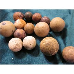 Group of (14) Old 19th Century Clay Marbles which were picked up while field hunting Indian Relics.