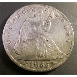 1855 O Arrow U.S. Seated Liberty Half Dollar. VG-F. Natural toning with a heavy toning spot on Liber