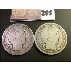 1903 S & 1904 S  U.S. Barber Half Dollars. Both Good with full rims.