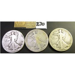 1916 P, 16 Obverse D, & Obverse S (the latter with a rim bruise) U.S. Walking Liberty Half Dollars.