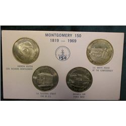 1819-1969 Montgomery, Alabama Sesquicentennial Four-piece Set of Commemoratives. Mounted in original