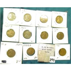Group of (11) scarcer Lincoln Cents grading VG to AU. Includes 1920D, 21P, S, 22D, 23P, S, 24S, 25D,