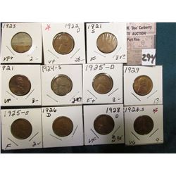 Group of (11) scarcer Lincoln Cents grading VG to AU. Includes 1921P, S, 22D, 23P, 24S, 25D, S, 26 D